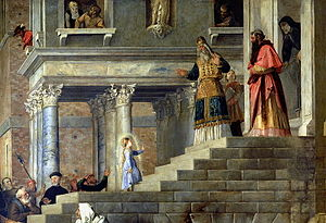 Presentation of Mary - The Presentation of the Virgin Mary by Titian (1534-38, Gallerie dell'Accademia, Venice).