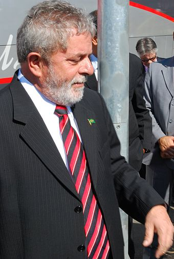 Former President Lula da Silva is a native of Caetes President Lula in Paulinia.JPG