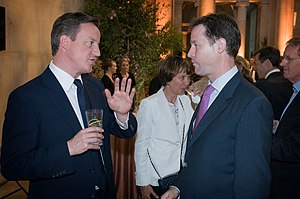Premiership of David Cameron - Cameron (left) formed a coalition with Liberal Democrat leader Nick Clegg (right) in May 2010