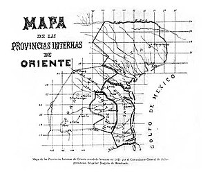 Map of Spanish colonies along the Gulf of Mexico showing Texas, Nuevo Santander, Coahuila, and Nuevo León