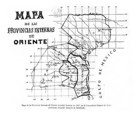 Map of the Eastern Internal Provinces created by Joaquin de Arredondo. Provincias Internas de Oriente.jpg