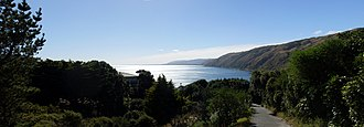 Pukerua Bay - View from the start of the Goat Track walkway which goes down to the beach.