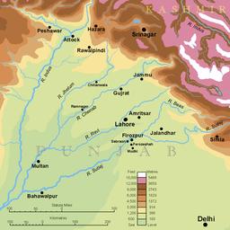 Topografia mapo de Panĝabo