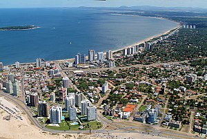 Punta del Este - Chiverta Ave. from Playa Brava (Rough Sea Beach) to Playa Mansa (back). Gorriti Island.