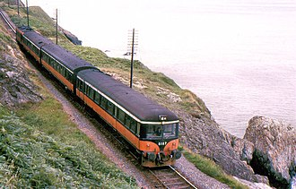 CIÉ 2600 Class - A three-car push-pull set (6107/232S) running along the coast between Bray and Greystones on 2 August 1986.
