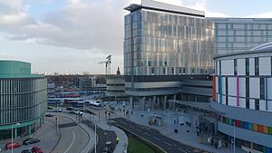 Queen Elizabeth University Hospital - The entrances to the adults and children's facilities.