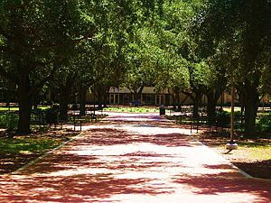 McNeese State University -  The Quadrangle looking toward the Student Union, also known as The Ranch