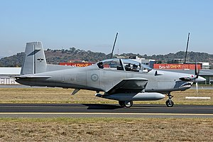 An FACDU Pilatus PC-9A at Canberra Airport in 2008