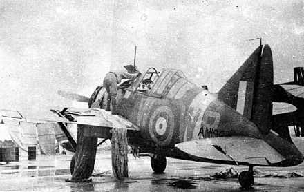 Brewster B-339E (AN196/WP-W) of No. 243 Squadron RAF. This aircraft was flown by Flying Officer Maurice Holder, who flew the first Buffalo sortie in the Malayan Campaign on 8 December 1941, strafing landing barges on the Kelantan River. Damaged by ground fire, it was abandoned at RAF Kota Bharu before its fall to the Japanese. RAF F2A Buffalo.jpg