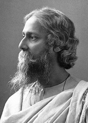 Culture of Kolkata - Rabindranath Tagore in Kolkata, First Asian Nobel-Laurete (probably taken in 1915, the year he was knighted by Lord Hardinge).