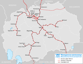 Map of North Macedonia's railway network