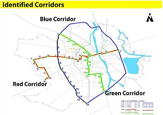 Rajkot Bus Rapid Transit System - Image: Rajkot BRTS Corridors