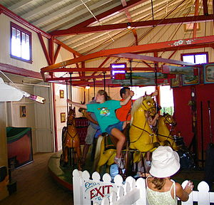 Flying Horses Carousel - A rider of the carousel reaches for the brass ring.