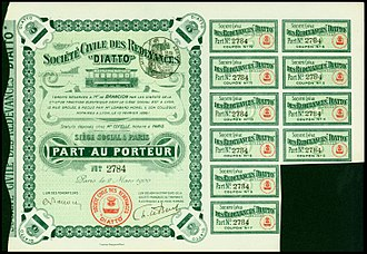 """Stud contact system - Share of the Soc. Civile des Redevances """"Diatto"""", issued 2. March 1900 with illustrations of the Diatto studs"""