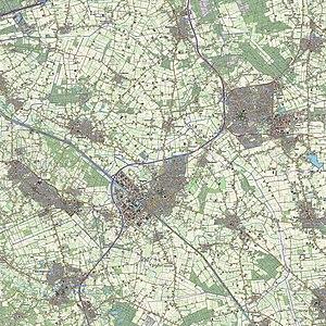 Uden-Veghel - Topographic map of the Uden–Veghel metropolitan region, 2013