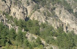 A view of the geology on the side of the mountain that dominates the north side of Remollon