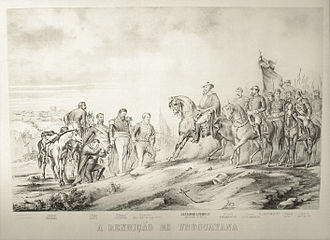 Pedro II of Brazil in the Paraguayan War - Surrender of Uruguaiana, 1865. From left to right: Unknown Paraguayan soldier, Father Duarte, unknown Paraguayan Officer, Lieutenant Colonel Estigarribia, Minister Ângelo Ferraz (delivering Estigarribia's sword), Emperor Pedro II, Venancio Flores, Bartolomé Mitre, the Count of Eu, the Marquis of Caxias and the Baron of Porto Alegre, along with other unidentified Brazilian Officers.