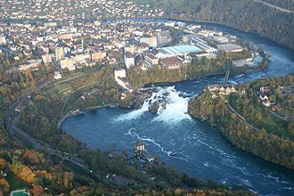Rhine Falls - Aerial view of Rheinfall in 2008