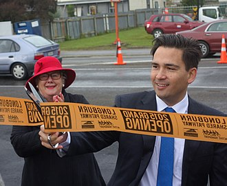 Simon Bridges - Bridges, as Transport Minister, opens a cycle route in Palmerston North