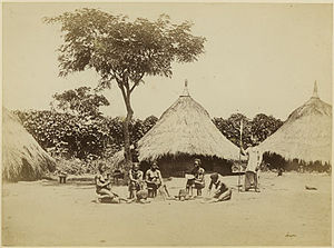 Richard Buchta - Zande homestead with women
