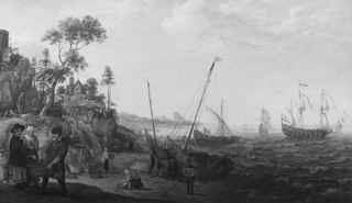 Rocky Coast with Ships and Figures
