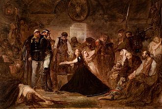 "January Uprising - ""Polonia (Poland), 1863"", by Jan Matejko, 1864, oil on canvas, 156 × 232 cm, National Museum, Kraków. Pictured is the aftermath of the failed January 1863 Uprising.  Captives await transportation to Siberia. Russian officers and soldiers supervise a blacksmith placing shackles on a woman (Polonia). The blonde girl next to her  represents Lithuania."
