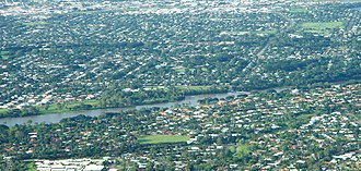 Ross River (Queensland) - Ross River as it runs through Townsville suburbs, with Aplins Weir visible on right