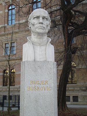 Roger Joseph Boscovich - Ruđer Bošković bust in front of the Croatian Academy of Sciences and Arts building in Zagreb, Croatia