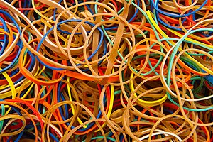 English: Rubber bands in different colors. Stu...