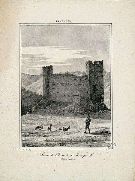 File:Ruines du Château de Ste. Marie près Luz (Hautes Pyrénées) - 1827 - Fonds Ancely - B315556101 A GELIBERT 1 012.jpg