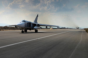 Bassel Al-Assad International Airport - Russian Su-24 jet aircraft at Khmeimim Air Base, Syria