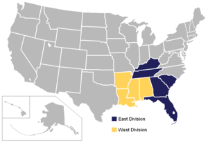 2010–12 Southeastern Conference realignment - Image: SEC USA states