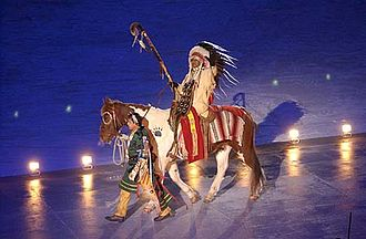 An American Indian Chief during the opening ceremony at the Rice-Eccles Olympic Stadium on February 8, 2002 SLC Indian chief opening ceremony.jpg