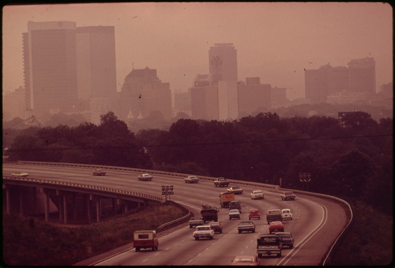 SMOG OBSCURES BIRMINGHAM SKYLINE. TWO STEEL FURNACES OPERATED ROUND THE CLOCK BY U.S. STEEL, PLUS OTHER HEAVY... - NARA - 545467