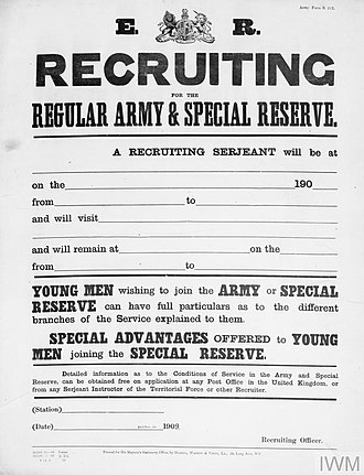 Special Reserve - Recruitment poster for the British Army and Special Reserve
