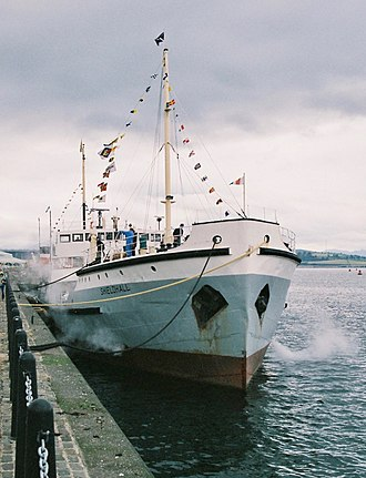 SS Shieldhall - SS Shieldhall moored at Custom House quay, Greenock in 2005.
