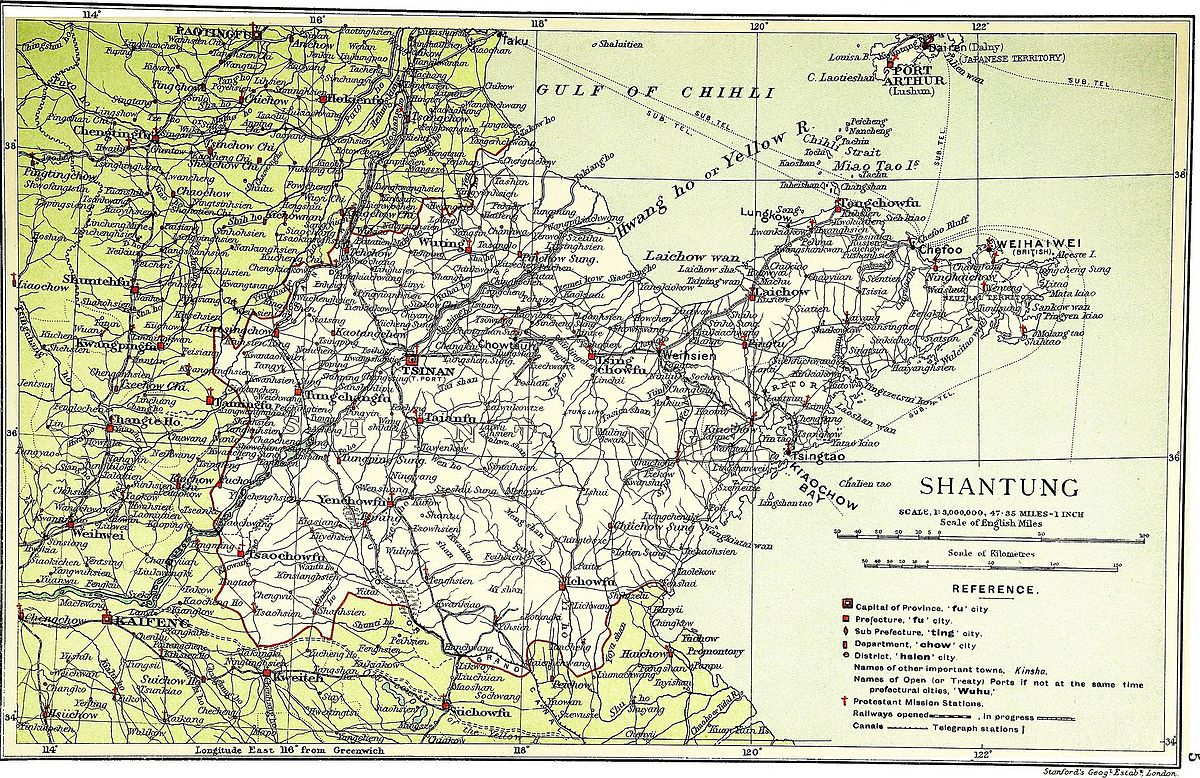 "Map of the eastern Shandong Peninsula from 1917, showing its road network and rivers. Liu Zhennian's de facto capital Zhifu (""Chefoo"") was only accessible by few land routes."