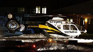 STAT Medevac - Medevac 3, a Eurocopter EC 135, on the pad at UPMC Passavant Hospital