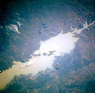 Mozambican War of Independence - The Cahora Bassa dam (as seen from space), was built by the Portuguese colonial government during the war as part of a major development plan and helped to win support of the populace. It was a target of frequent FRELIMO attacks but no direct guerrilla attacks were ever successful.
