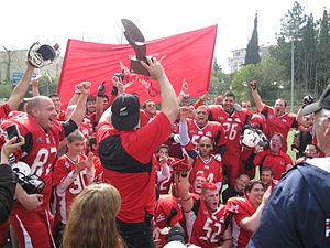 Israeli Football League - The Tel Aviv/Jaffa Sabres celebrate their Israel Bowl V victory.