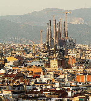 Eixample -  Part of Eixample and Sagrada Família, viewed from Montjuic, June 2006