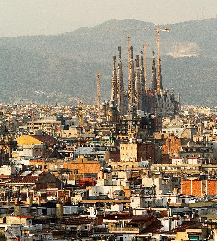 Sagrada Familia Eixample from Montjuic