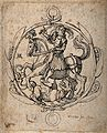 Saint George. Etching by W. Hollar, 1642, after A. Dürer. Wellcome V0032136.jpg