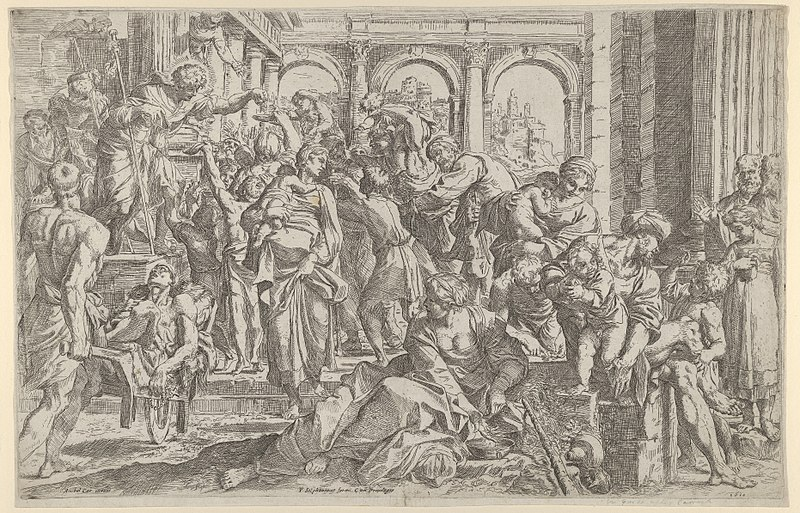 File:Saint Roch at left distributing alms to a group of people gathered around him, after Annibale Caracci MET DP838024.jpg