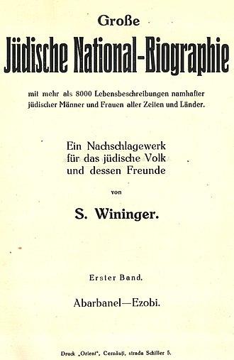 Salomon Wininger - Frontpage, Vol. 1
