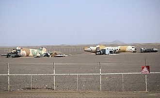 Operation Eagle Claw - A replica of the crash site in the Tabas desert using a Fokker F27 fuselage.