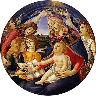Lorenzo de' Medici - Madonna of the Magnificat shows Lucrezia de' Medici as the Madonna surrounded by her children, with Lorenzo holding a pot of ink.