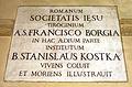 Sant'andrea al quirinale, stanze del convento, lapide santi francesco borgia e stanislao kostka.JPG