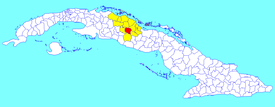 Santa Clara municipality (red) within  Villa Clara Province (yellow) and Cuba