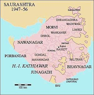 Junagadh State - Location of Junagadh State in Saurashtra, among all princely states shown in pink